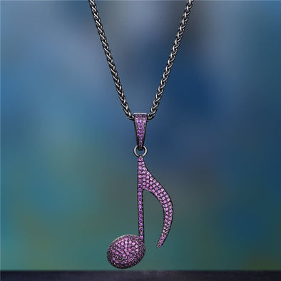 Purple Iced Note Necklace - 24 2.5Mm Black Franco - Pendant