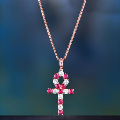 Rose Gold Iced Ruby Ankh - Pendant