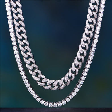 White Gold 12Mm Iced Cuban Chain And Tennis Chain Set - Other Set