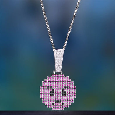 White Gold Iced Angry Pixel Emoji Pendant - Pendant