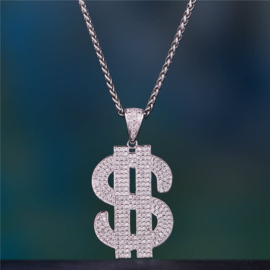 White Gold Iced Dollar Pendant - 24 2.5Mm 14K Gold Franco - Pendant