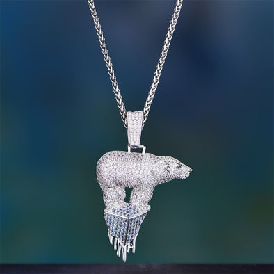 White Gold Iced Helpless Polar Bear Pendant - Pendant