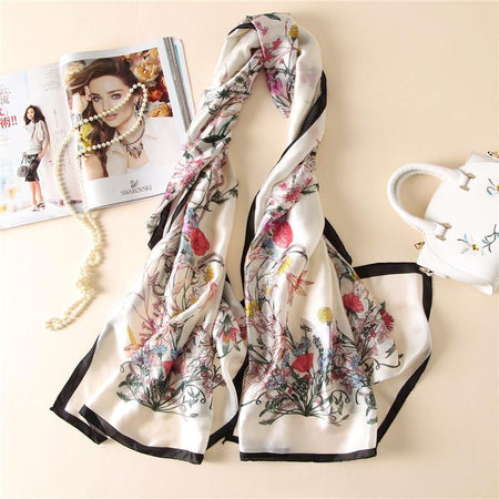 100% Silk Scarf Women With Luxury Flower Prints - GiftWorldStyle - Luxury Jewelry and Accessories