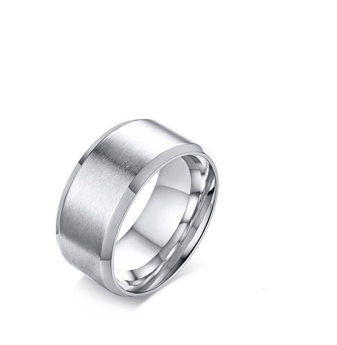10mm Wedding Bands Ring - Stainless Steel Matte Finish Beveled Polished Edge - GiftWorldStyle - Luxury Jewelry and Accessories