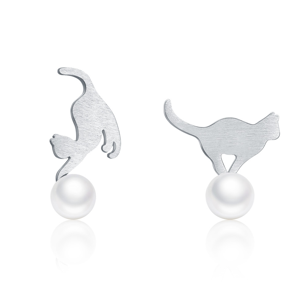 Naughty Cat Play Ball Stud Earrings - 925 Sterling Silver