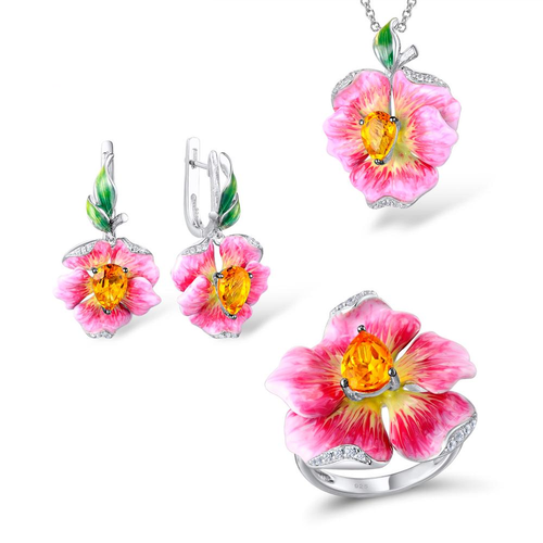 Silver Sterling Jewelry Set For Women With Enamel Pink Flower - GiftWorldStyle - Luxury Jewelry and Accessories