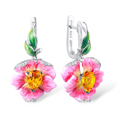 Silver Sterling Jewelry Set For Women With Enamel Pink Flower