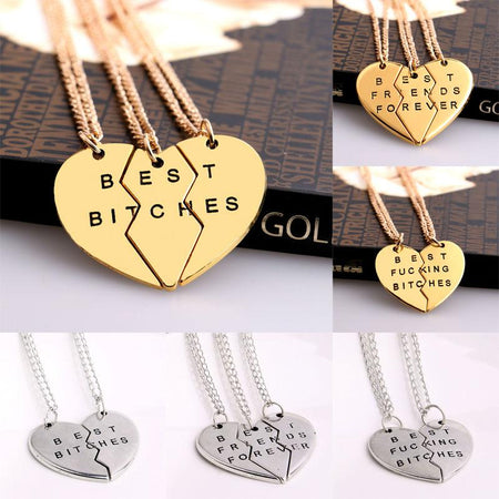 2/3 PCS Broken Heart Pendant Necklace Best Friends BFF Women Men Statement Jewelry Friendship Choker