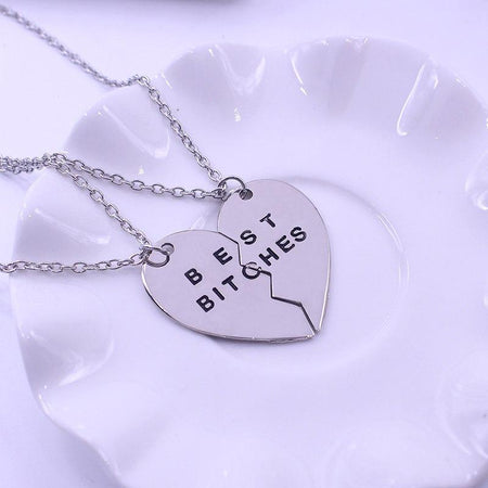 2 Pcs Best Bitches Pendant Necklace Two Part Broken Heart Best Friends Forever