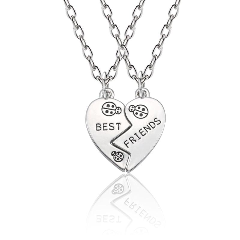 2 Pcs Best Friend Necklaces In Heart Shape With Ladybug - GiftWorldStyle - Luxury Jewelry and Accessories