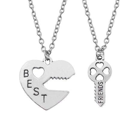 2 Pcs Best Friend Necklaces Key To The Heart Silver Pendant Lock And Key Best Friend Split DIY