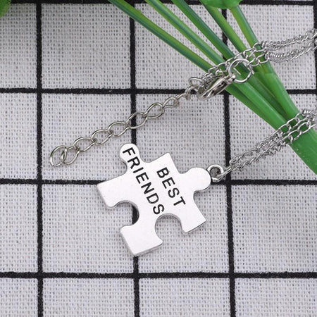 2 Pcs Best Friends Necklaces Geometric Necklace Women Silver Pendants Chain Keepsake