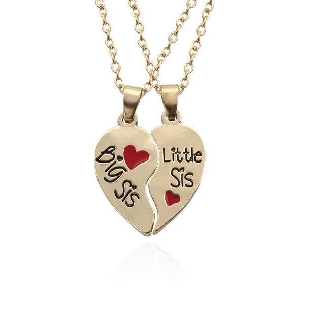 2 Pieces Best Sister Necklaces - Big Little Sister Red Heart - GiftWorldStyle - Luxury Jewelry and Accessories
