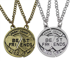2 Pcs Broken Round Shape Can Be Stitched Silver Pendants Necklaces Best Friend Forever