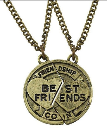 2 Pcs Round Shape Necklaces Like Best Friend Coin - GiftWorldStyle - Luxury Jewelry and Accessories