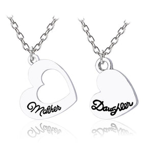 2 PCS Family Pendant Necklaces Mother Daughter Hollow Splicing Heart Letter Jewelry Mother's