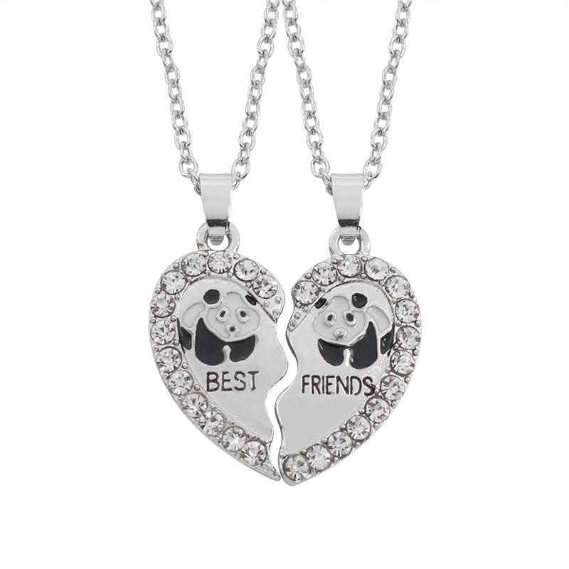 2 Pcs Lovely Best Friends Pendant Necklace Panda Heart Shaped Rhinestone Keepsake