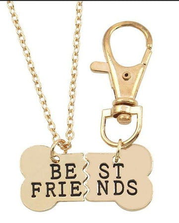 2 Pcs Pet Best Friends Necklace Necklaces Spliced Into Dog Bones Women Key Chain Pendants