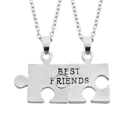 Puzzle Necklace From 2 Pcs For Friends, Splicing Alloy - GiftWorldStyle - Luxury Jewelry and Accessories