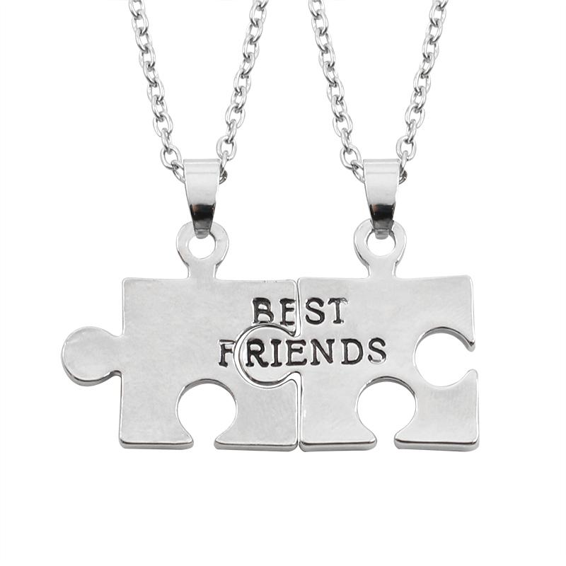 2 Pcs Puzzle Spliced Choker Necklace Splicing Alloy Best Friends Gift For Friends Pendant Keepsake