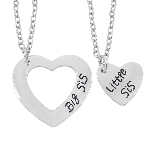 2 Pcs Silver Hollow Love Stitching Heart Necklace Big Little Sis Pendant Sisters Best Forever Keepsake