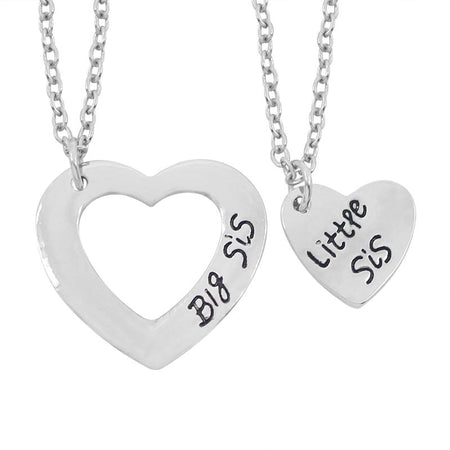 2 Pcs Silver Hollow Love Stitching Heart Necklace Big Little Sis Pendant Sisters Best Forever Keepsake - GiftWorldStyle - Luxury Jewelry and Accessories