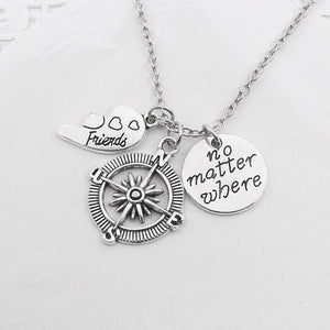 2 Pcs Necklace With No Matter Where Compass - GiftWorldStyle - Luxury Jewelry and Accessories