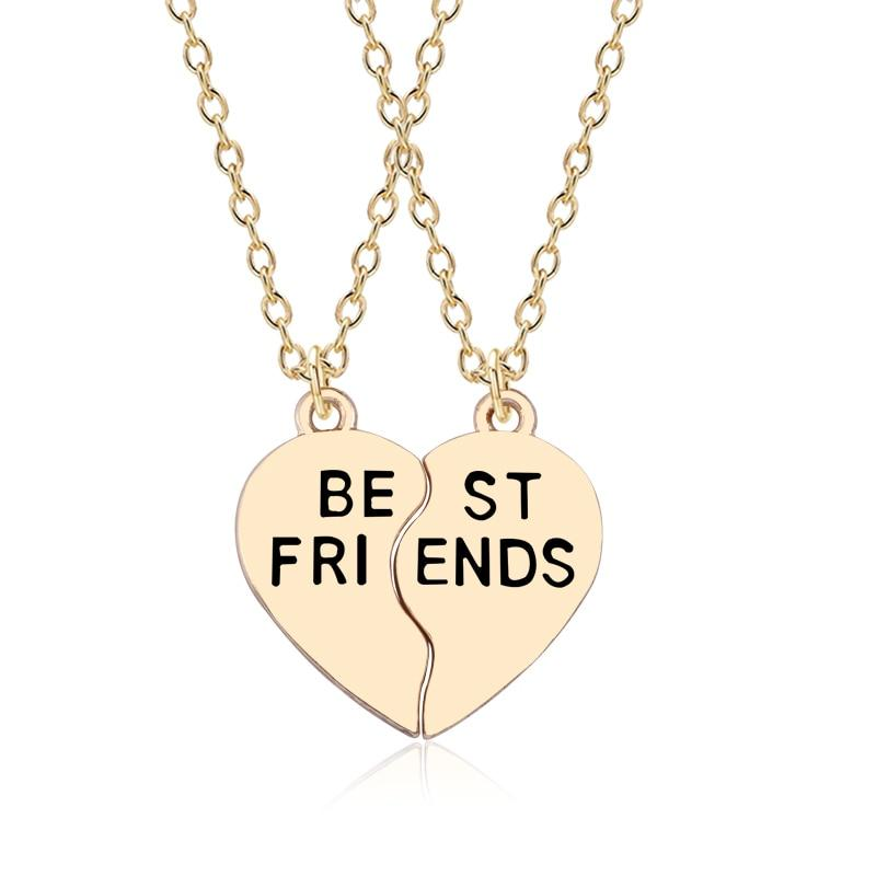 2 Psc Best Friends Pendant Necklaces Gold Silver Two Colors Peach Heart Jewelry Keepsake