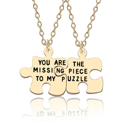 2Pcs Geometry Jigsaw Pendant Necklace Lettering You Are The Missing Piece To My Puzzle Lovers