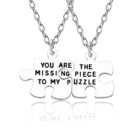 """You Are The Missing Piece To My Puzzle"" 2Pcs Necklace - GiftWorldStyle - Luxury Jewelry and Accessories"