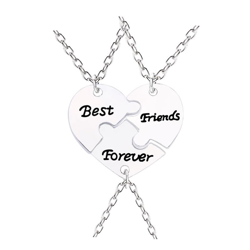 3 Pcs Best Friends Forever Necklaces Peach Heart Necklace Silver Color Pendant Jewelry Keepsake