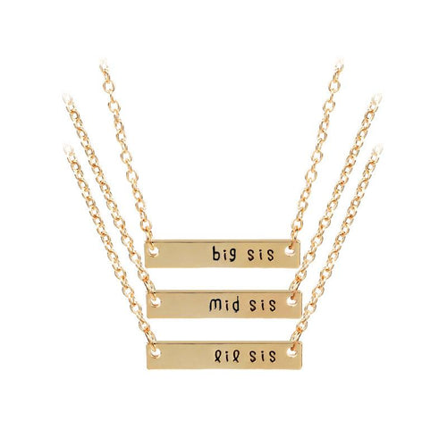 3 Pcs Best Sister Girlfriends Choker Necklace Jewelry Big Middle Little Sister Square Alloy Pendant