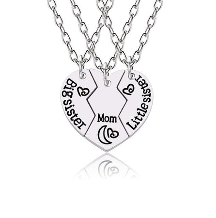 3 Pcs Necklaces For Sisters And Mom Love, Heart Shape - GiftWorldStyle - Luxury Jewelry and Accessories