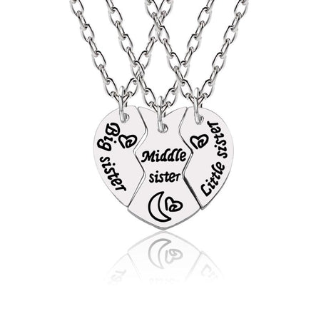 3 Pcs Silver Necklace In Heart Shape For Sisters - GiftWorldStyle - Luxury Jewelry and Accessories
