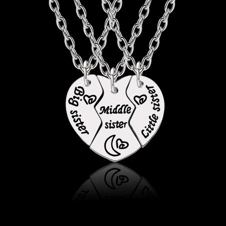 3 Pcs Big Sister Middle Sister Little Sister Heart Necklace Silver Pendant Keepsake