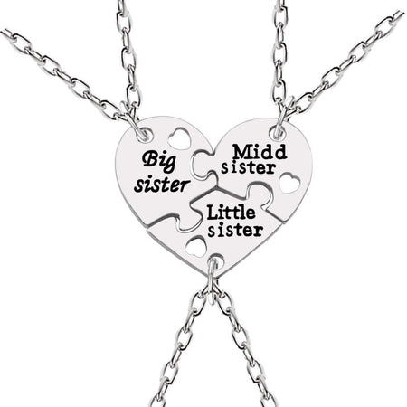 3 Pcs Big Sister Middle Sister Little Sister Necklaces Heart Necklace Silver Pendant Kepsake