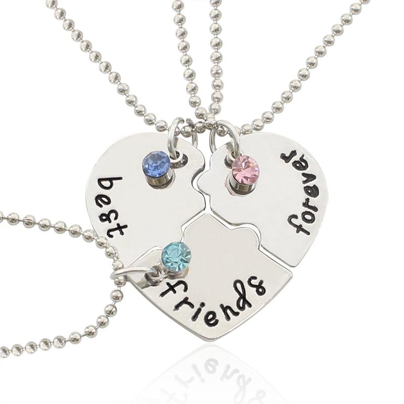 3Pcs Best Friends Forever Necklace With Rhinestones - GiftWorldStyle - Luxury Jewelry and Accessories