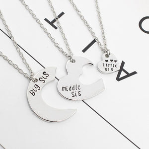3 Pcs Puzzle Heart Necklace Letter Big Middle Little Sis Pendant Necklaces Women Silver Friendship Keepsake