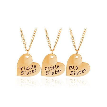 3 PCS Sisters Necklace Big Middle Little Sister Peach Heart Alloy Pendant Necklaces Women - GiftWorldStyle - Luxury Jewelry and Accessories