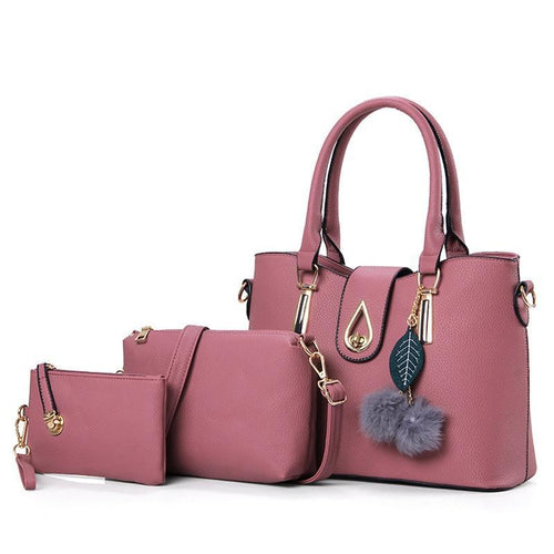 3 Pcs Vintage Handbags Women Bags Female Purse Solid Shoulder Bags Lady Casual Top-Handle Bag - GiftWorldStyle - Luxury Jewelry and Accessories