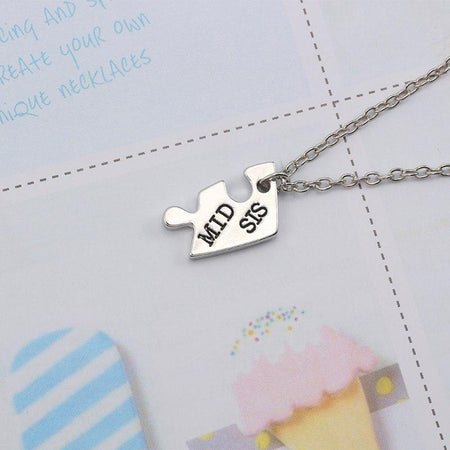 3 Pes Heart Pendant Necklace Necklace For Women Silver Good Sister Choker Family Jewelry - GiftWorldStyle - Luxury Jewelry and Accessories