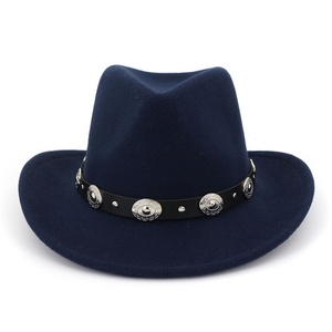 Women Wool Felt Fedoras Belt Western Cowboy Formal Hat Wide Brim Trilby Hats Ladies Gentlemen Hat