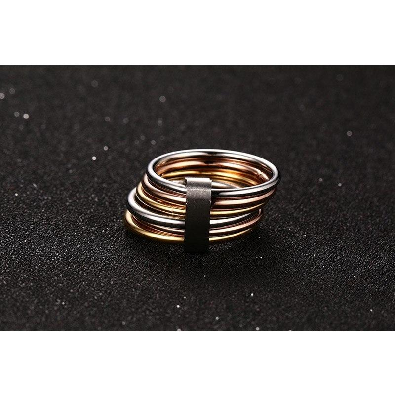 6 Plain Bands Interlocked Stacked Wide Statement Ring - GiftWorldStyle - Luxury Jewelry and Accessories