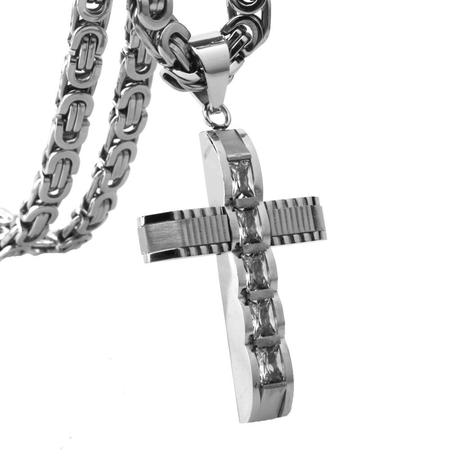 Men's Byzantine Chain CZ Cross Pendant Necklace