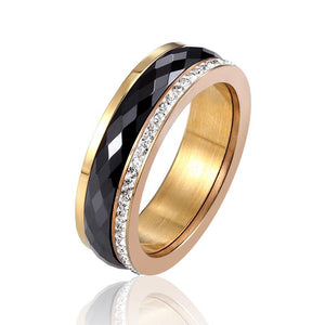 Ceramic Ring With Crystals In Two Colors And Stainless Steel - GiftWorldStyle - Luxury Jewelry and Accessories
