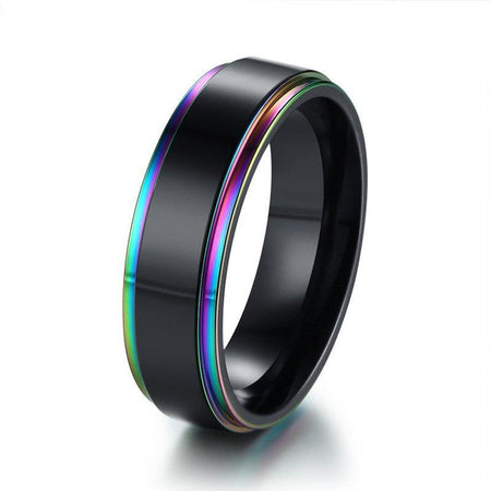 6mm Black With Rainbow Edge Ring - Stainless Steel - GiftWorldStyle - Luxury Jewelry and Accessories
