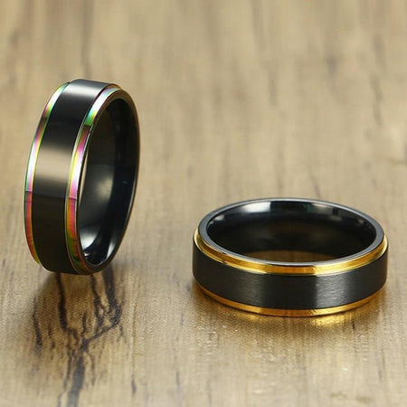6mm Ring With Line Edge Matte Surface - Stainless Steel - GiftWorldStyle - Luxury Jewelry and Accessories