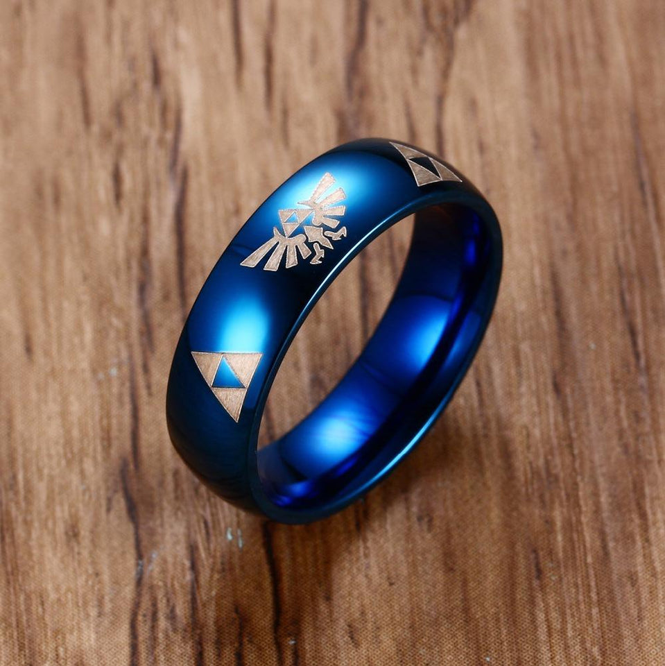 6mm Wide Blue Anime Ring For Men - Stainless Steel