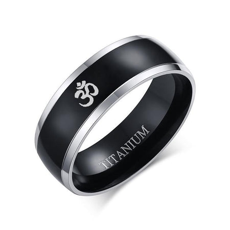 8mm AUM OM Religious Black Ring For Men - Titanium Casual - GiftWorldStyle - Luxury Jewelry and Accessories