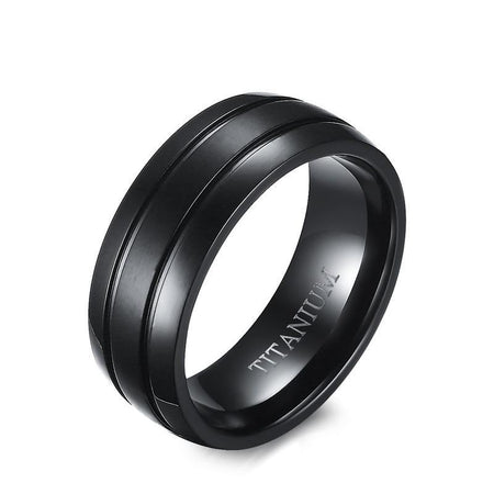 8mm Black Titanium Steel Dome Ring - Matte Finish Double Groove - GiftWorldStyle - Luxury Jewelry and Accessories